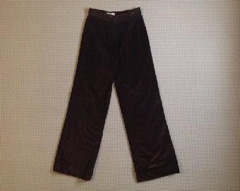 1970's, high waist, wide leg pants, in dark brown velvet, Women's size Medium