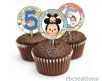 Tsum Tsum Cupcake Toppers, Tsum Tsum Party, Tsum Tsum Birthday, Tsum Tsum Party Supplies - Digital Printable