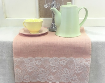 """Peach Blush Burlap & Lace Table Runner  12"""" or 14"""" wide with White, or Ivory Lace on ends - Wedding runner Home decorating"""