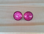 Rubellite Glitter Earrings, Titanium Posts, Glitter Studs, Sparkly Fuchsia Studs, Gift Idea, Hypoallergenic Studs, Bridesmaid Gift, Sparkle