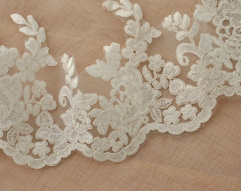 ivory cotton alecon lace trim with scalloped broder for bridal, wedding, gowns, veils