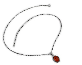 Pendant Amber Necklace Silver Jewelry