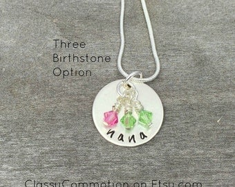 SALE! Mimi Necklace - Circle with Birthstones - Hand Stamped Jewelry - Nana Grandma Mom Mommy Gigi Mothers Day Mothers Necklace