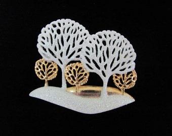 Vintage Christmas Brooch, 1970's AJC White Tree Brooch, Pin, Winter Trees, Glitter Trees Brooch, Pin Holiday Jewelry, 1970's Christmas