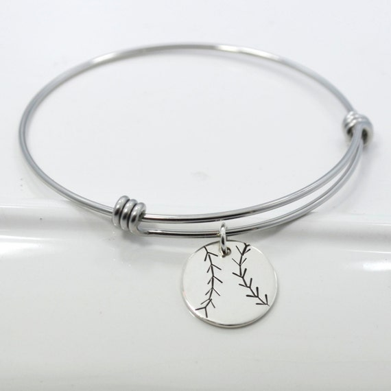Baseball Charm Bracelet: Baseball Softball Adjustable Bangle Bracelet Stacking Charm