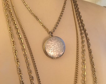 Four Tiered Vintage Locket Necklace