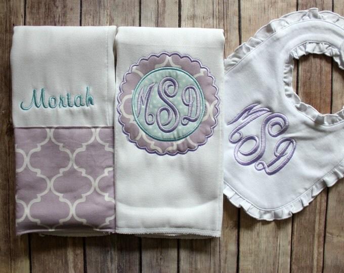 Baby Girl Burp Cloth Set, Baby Girl Gift Set, Monogrammed Girl Burp Cloth Set, Ruffled Bib, Personalized Baby Shower Gift, Purple Baby Gift