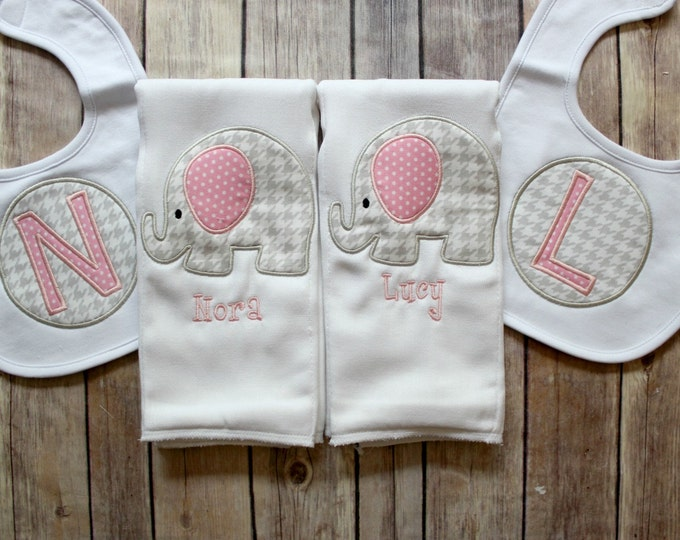 Personalized Twin Baby Girl Gift, Monogrammed Twin Burp Cloth, Custom Twin Baby Gift, Twin Girl Gift Set, Elephant Twin Baby, Personalized