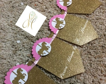 12 Month Carousel Photo Banner/Carousel Banner/Pink and Gold Carousel Banner