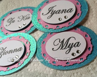 Paris Theme Favor Tags/Winter in Paris/Pink and Ice Blue Tags (Set of 10)