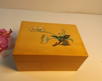 Sale Wooden jewelry box with cherry blossom on the lid.Gift