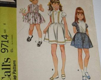 McCall's 9714 Pattern Childs Dress 1969 Size 6 Vintage