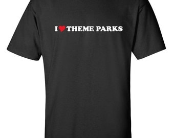 I Love Theme Parks Heart  Men Women T-Shirt
