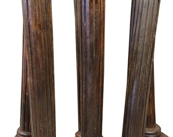 Antique Teak Columns Pair Pilasters Wooden Architectural Pillar Columns Indian