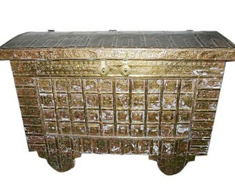 Antique Hope Chest on Wheels Hand Carved Brass Cladded Peacock Elephant Trunk Buffets India Vintage Pitara FREE SHIP