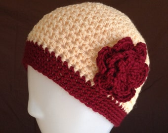SALE Crochet Chemo Cap Hat Beanie, Womens Size, Peach with Burgundy Edging and Flower