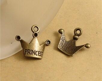 100 Princess Crown Charms, 19x17MM Brass Tone Crown Pendants A1473