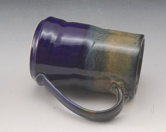 Pottery Mug Handmade Large Blue Brown porcelain by Mark Hudak