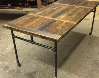 Expanding Dining Table With Cast Iron Pipe Legs