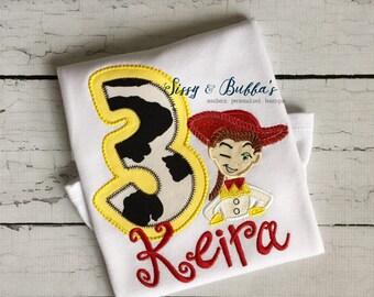 Personalized Jessie, Appliqué Shirt, personalized, birthday, boy, girl, Toy Story, Woody, tee, aliens, jessie, monogram, initials, buzz