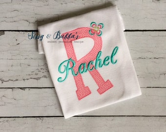 Personalized Baby Girl Appliqué Shirt, onesie, initial, monogram, monogrammed, matching bow, baby gift