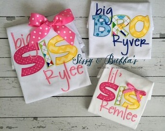 Personalized Big Sis Big Bro Lil Sis Lil Bro Appliqué Shirt, boy, girl, sibling, gender, matching, coordinating, monogrammed, monogram