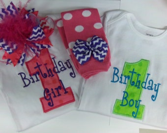 Twins Birthday Outfit - Pink, Purple, Blue, and Green, Boy and Girl Twins, Birthday Set, Over the Top Bow, Leg Warmers, LONG or SHORT Sleeve