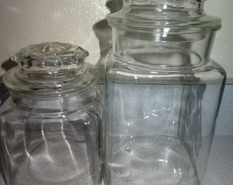 Vintage Apothecary Storage Glass Candy Jars Canisters Set of 5