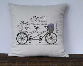 French Lavender Bicycle Pillow Cover, Custom Pillow Cover, Couch Pillow Cover, Decorative Pillow Cover, French Decor,