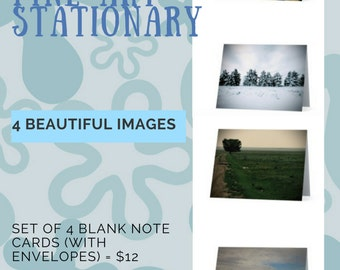Fine art print Stationary - set of 4 - blank note cards - original photography