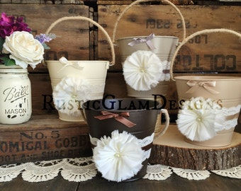 Flower Girl Basket, Creme Tan Taupe Brown Flower Girl Buckets, Rustic Flower Girl Pail, Flower Girl Bucket, Shabby Chic Wedding, Earth Tones