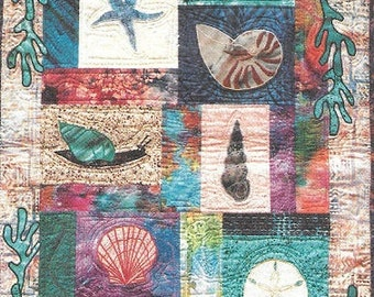 Critter Pattern Works Seashells Machine Applique Designs Fat Quarter Quilt Pattern Seashells and Kelp New In Package Chart Pack