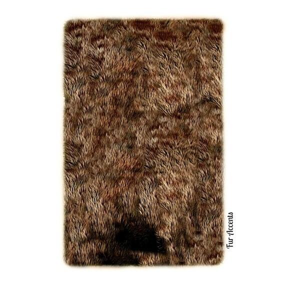 Sale Soft Faux Fur Area Rug Brown Shaggy Shag Fake By