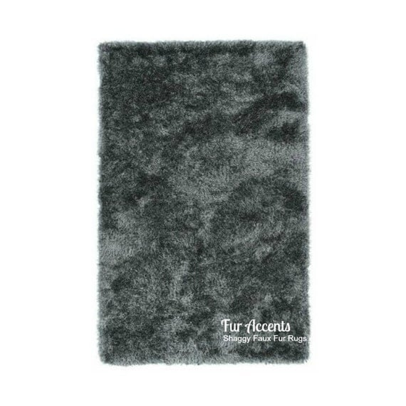 Sale Soft Faux Fur Area Rug Charcoal Gray Shaggy Shag Fake