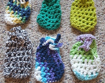 Crocheted Varigate and Solid Soap Bags Set of 2