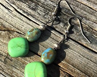 Blue/Green Ceramic Dangling Earrings
