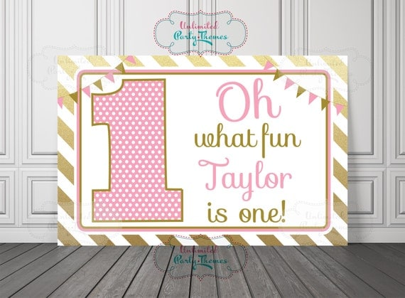 1st Birthday Girl Backdrop PRINTED Party Banner First Birthday