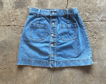 Vintage Button Front Denim Skirt