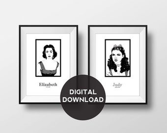 Hollywood Royalty - Illustration with Name – Audrey Hepburn, Liz Taylor, Monroe and Judy Garland - Download