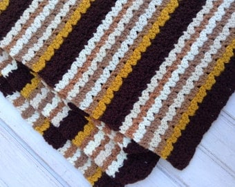 Vintage Crocheted Striped Afghan - Brown, Gold, Cream- Baby Gift, Living Room Throw