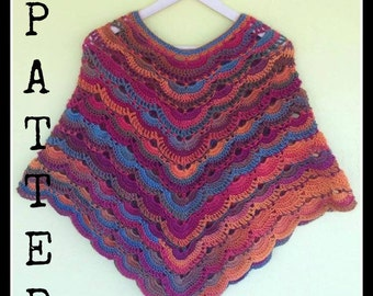 Crochet Pattern Virus Poncho Two Corner,Pattern, Crochet Poncho Pattern, Instant Download