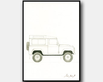 PRINT- Land rover defender painting - Classic 4WD Off Road car - Car print decor -  Art Print by Juan Bosco