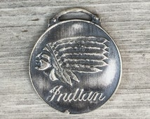 SALE! Indian Chief fob. Indian Motorcycles? Sterling silver native american pocket watch trading post pendant cast metal unisex men  e85