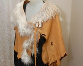 Leather and fur poncho - leather shawl