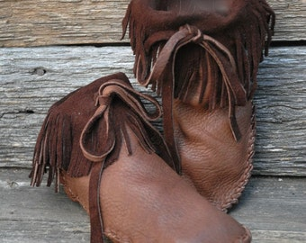 Barefoot Moccasins - Fringed Custom Moccasins - Grounding Moccasins- Ankle Moccasins