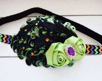 Halloween Couture - Lime Green Black Purple Orange - Feather Headband - Flapper Girl Headband - Halloween Headband - Halloween Bows - Witch
