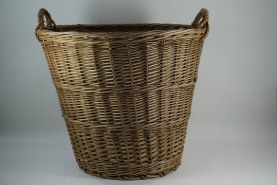 Large Round Wicker Baskets With Handle : Basket wicker w handles large laundry storage