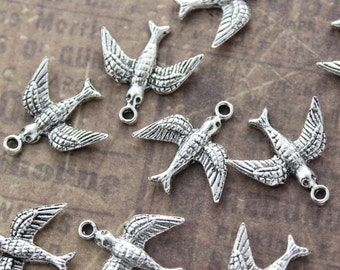 10 Bird Charms Swallow Pendants Antiqued Silver Tone 15 x 15 mm