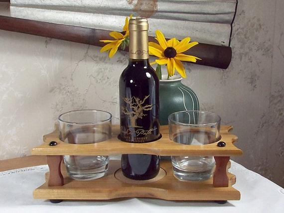 4 - Wine Bottle (1) & Stemless Glass Caddy (2 station) Split 375ml