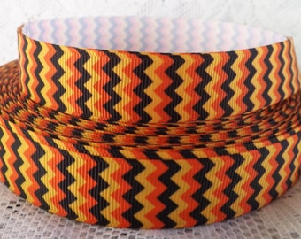 7/8 Halloween ribbon 22mm orange striped ribbon chevron ribbon halloween chevron